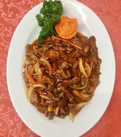 Image de  Lanières de boeuf finement tranchées dans une saus yu hsiang